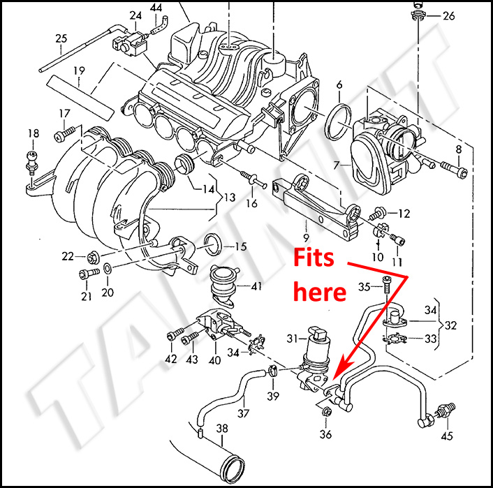 egr valve blanking plate with gaskets for vw audi skoda seat with rh tafmet pl 2005 VW Beetle Engine Diagram 2005 VW Beetle Engine Diagram